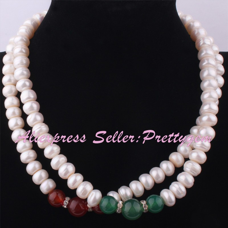 """6x10mm Natural White Freshwater Pearl 10-12mm Round Onyx Stone Beads Necklace 15-17""""Adjustable Size,Wholesale Free shipping"""
