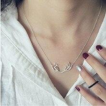 2016 Scorching Sale Design Sterling Silver 925 Necklace Deer Antler Pendant Necklace Christmas Jewellery Present Free Transport