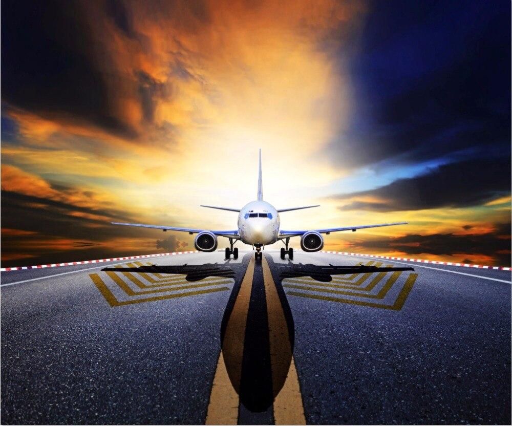 10x10FT Sunset Clouds Sky Airplane Plane Field Track Rail Airport Custom Backdrop Photo Studio