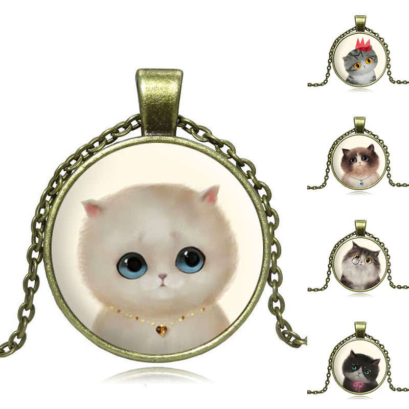 Vintage Jewelry Pendant Necklace Cute kitten Glass Cabochon Picture Ancient bronze Chain Necklace For Women