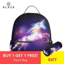 982867ab4620 ALAZA 2019 уникальный рюкзаки с единорогом женский школьный рюкзак для  девочек-подростков женский Mochila ноутбук