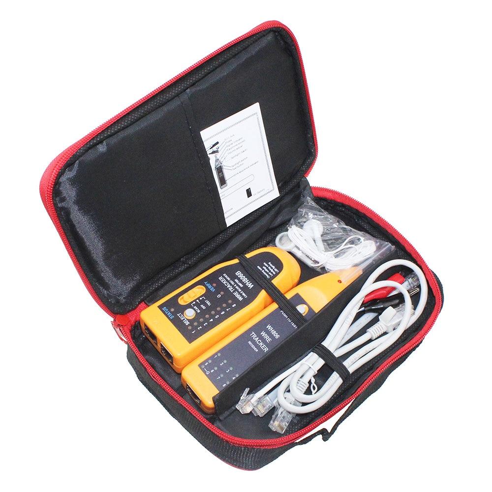 Paquete al por menor WH806B teléfono Wire Tracker red de Cable Tester para Cat5 Cat5E Cat6 RJ45 RJ11 línea eléctrica prueba de búsqueda