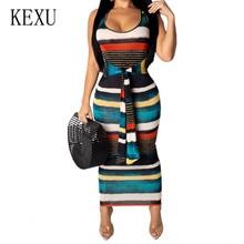 KEXU Vintage Printed Summer Maxi Dress Sexy Hollow Out Bodycon Bandage Pencil Dress Women Retro Party Dress Robe Longue Femme цена и фото
