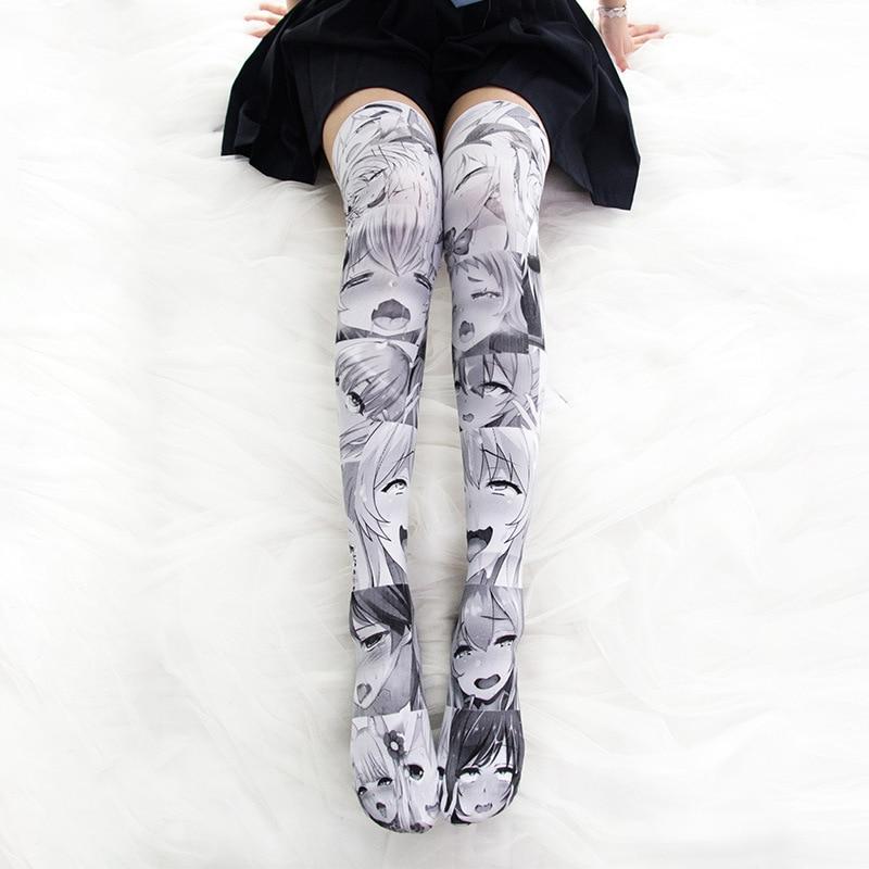 Anime Printed High Thigh Stockings 2