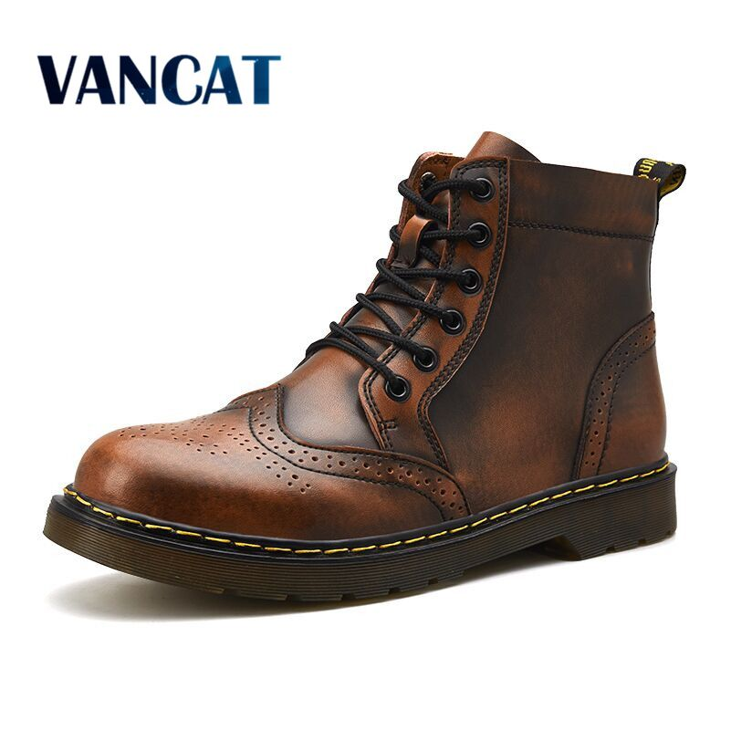 Vancat  High Quality Genuine Leather Men Boots Winter Waterproof Ankle Boots Riding Boots Outdoor Working Snow Boots Men Shoes Обувь