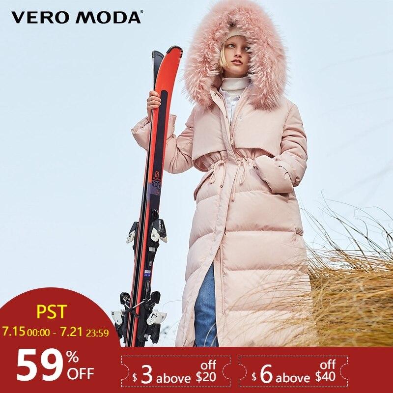 Vero Moda fourrure de raton laveur à capuche droite épaisse super longue doudoune femmes | 318412509