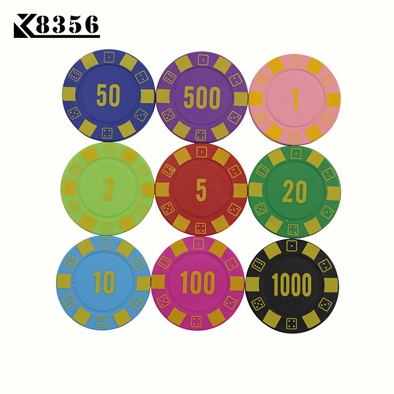 K8356 25PCS/Lot 4g ABS Dice Texas Holdem Chips Board Games Poker Chips Mahjong Machine Club Dedicated Currency Cards Custom