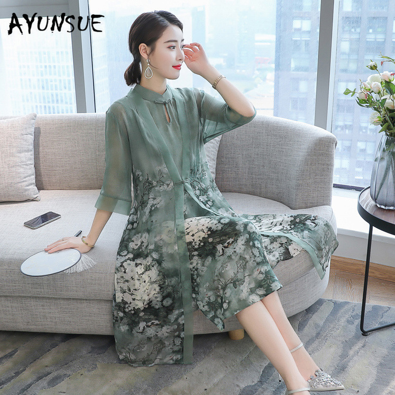 AYUNSUE 2019 plus size silk dress for woman clothes print floral vintage party dress elegent  greeen woman vestidos YY037 thumbnail