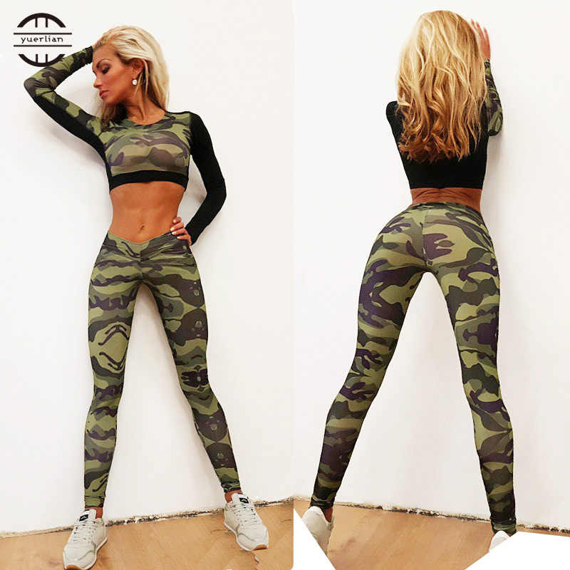 ec0765b109c7d Yuerlian 2017 Sexy Girls Waist Gym Tracksuit Fitness Tights Yoga Set Workout  Costume Leggings Shirt Top