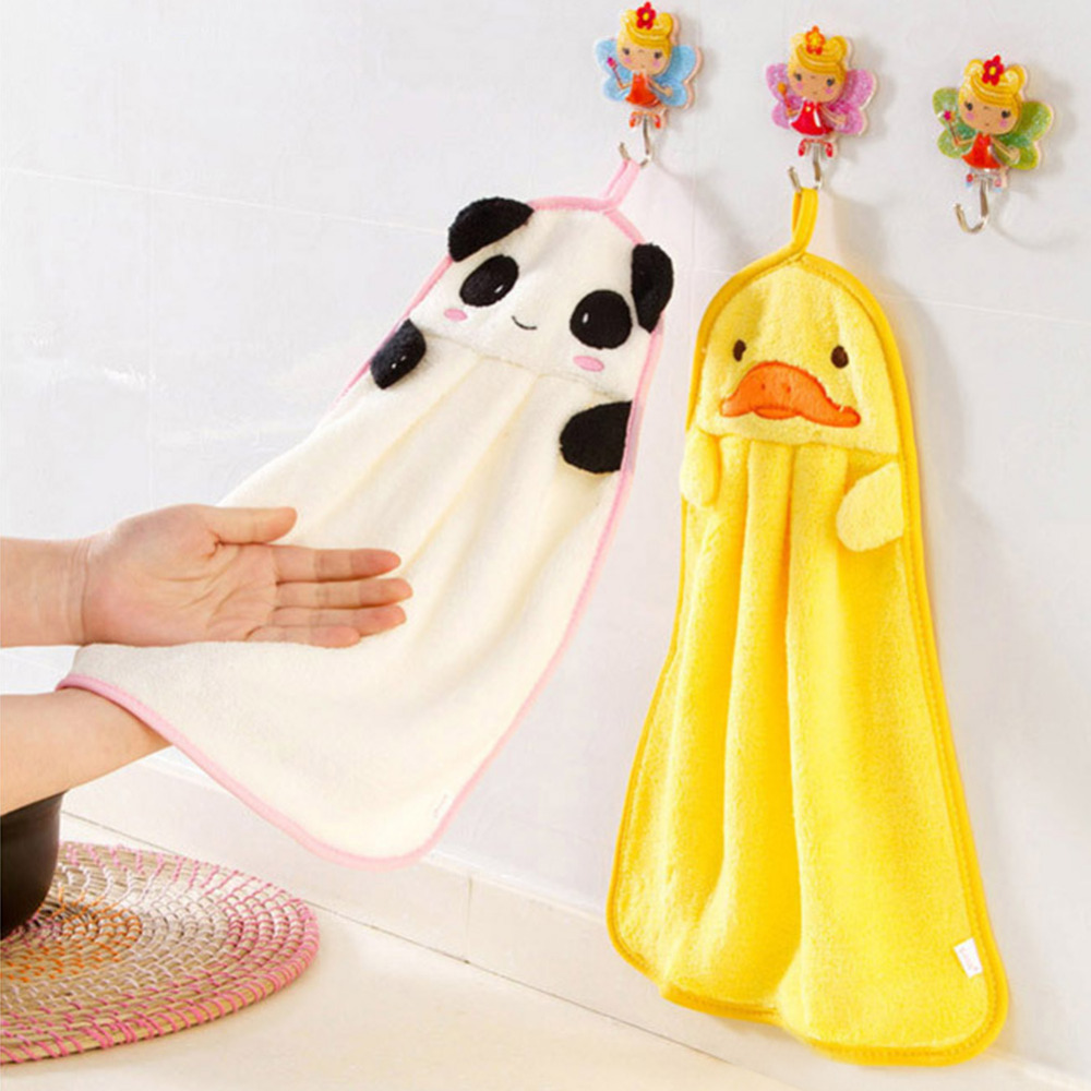 Childrens Hand Towels  Cute Animal Shape Wipe Hanging Bathing Towel Cartoon Coral Fleece Towel Can Be Hold For Baby Bathroom