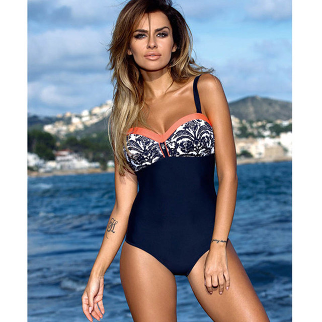 Raintropical 2019 New Plus Size Swimwear One Piece Swimsuit Women Patchwork Slimming Retro Bathing Suits Female Large Swim Wear