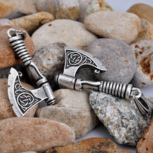 Antique Silver Axe Pendants futhark Norse viking pagan Jewelry drop shipping 1pc(China)