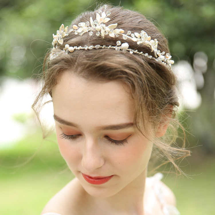 ... Delicate Crystal Tiara Bridal Hair Crown Wedding Headpiece With  Freshwater Pearls Accessories Women Headband Tiaras Jewelry ... 578bf5045a9c