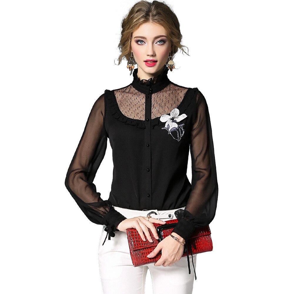 Unique 2018 Lanterne Manches Noir De Chemisier Nouvelle Poitrine Broderie Maille Femmes Soie Mousseline Automne Patchwork Floral Shirts blanc Solide gxwIn0q4z