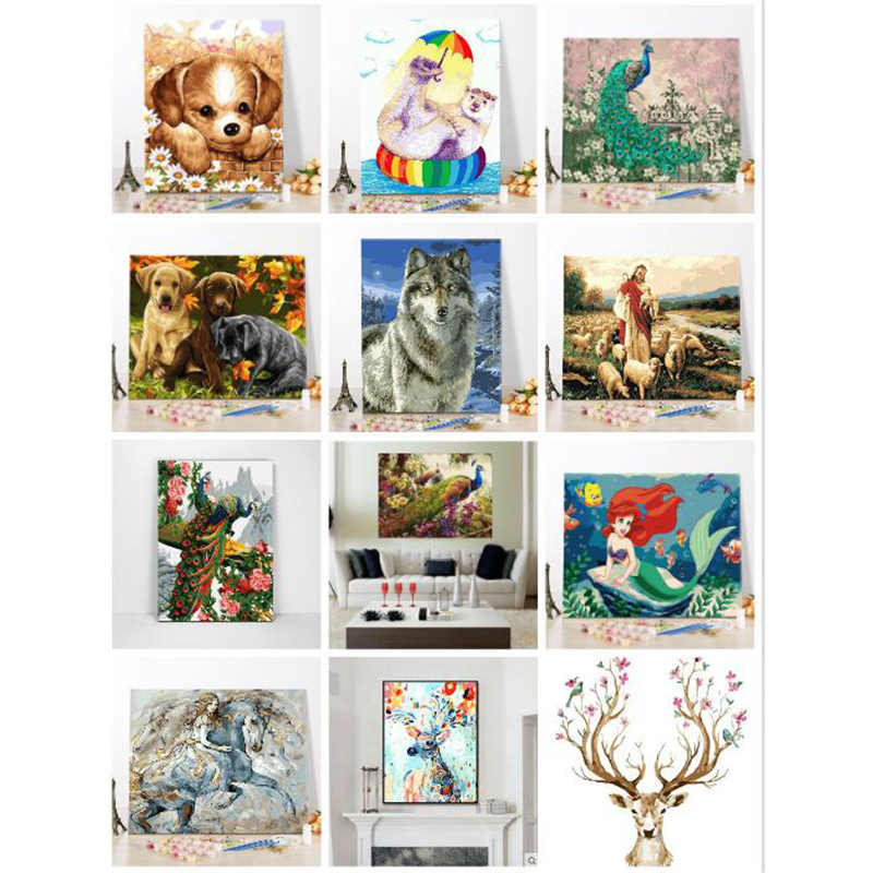 diy painting by numbers,pictures by numbers,wall picture,cat,dog, peacock,deer,Animals,digital oil painting