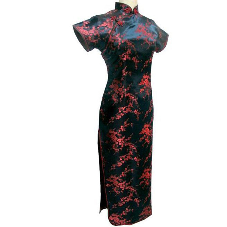 Black-Red Traditional Chinese Dress Women's Satin Long Cheongsam Qipao Flower Size S M L XL XXL XXXL 4XL 5XL 6XL