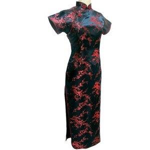 Image 1 - Black Red Traditional Chinese Dress Womens Satin Long Cheongsam Qipao Flower Size S M L XL XXL XXXL 4XL 5XL 6XL