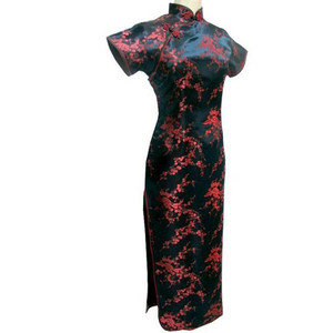 Image 1 - שחור אדום סינית מסורתית שמלת נשים של סאטן ארוך Cheongsam Qipao פרח גודל S M L XL XXL XXXL 4XL 5XL 6XL