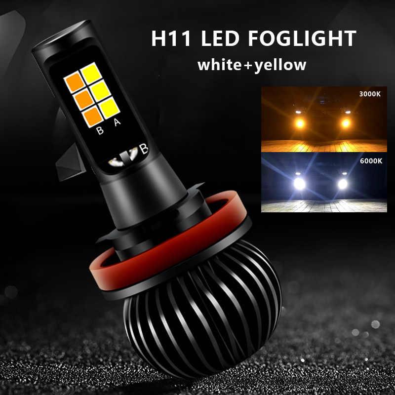 2 Pcs/Lot H1 H3 H4 H7 H11 Led voiture phare ampoule Kit de Conversion avant feu antibrouillard double lampe couleur blanc 6000 K jaune 3000 K