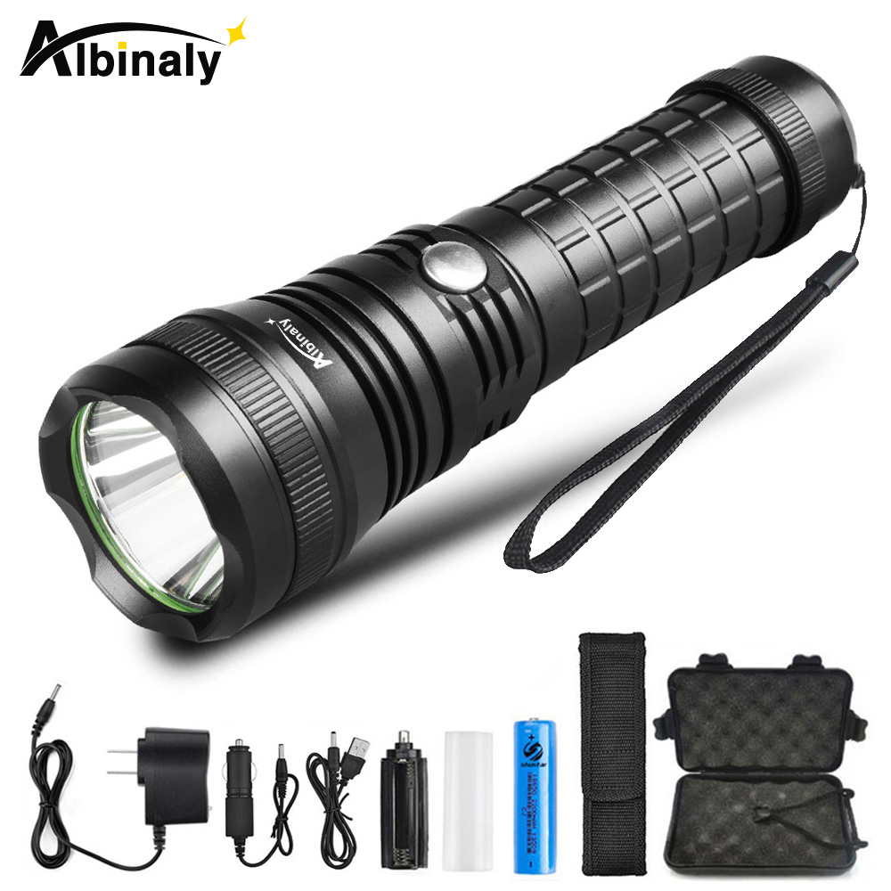 Super power LED flashlight CREE XML-T6 5000 lumens torch 5 modes fixed focus flashlight adventure light+charger + 18650 battery cree q5 600 lumens 3 modes led flash light zoomable focus led hunting lantern tactical flashlight 18650 5000 mah battery charger