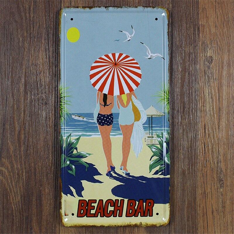 Beach Metal Wall Art Part - 33: Beach Bar Car License Plate 15*30 Cm Metal Sign Wall Art Metal Craft  Painting