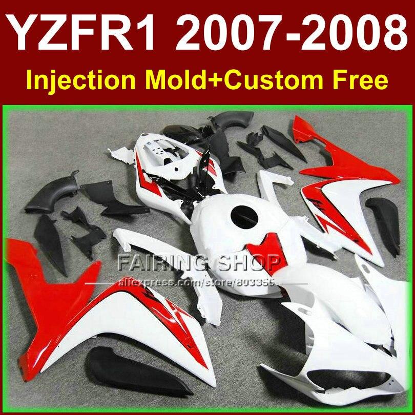 ABS Pur blanc carrosseries pour YAMAHA YZFR1 2007 2008 R1 carénage ensembles YZF R1 YZF1000 YZF 1000 07 08 carénages kits KID3