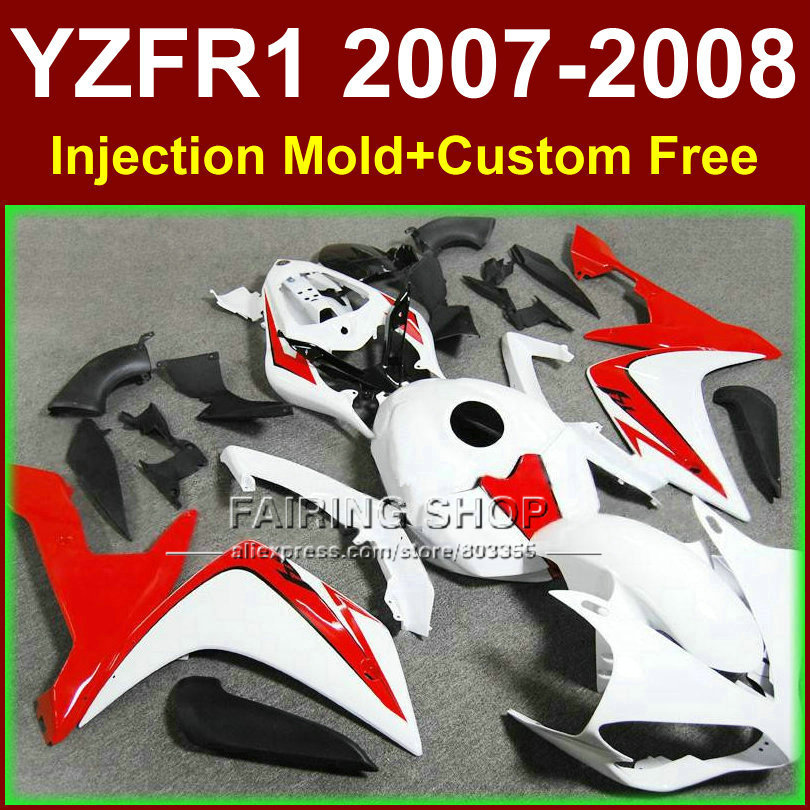 ABS Pure white bodyworks for YAMAHA YZFR1 2007 2008 R1 fairing sets YZF R1 YZF1000 YZF 1000 07 08 fairings kits KID3