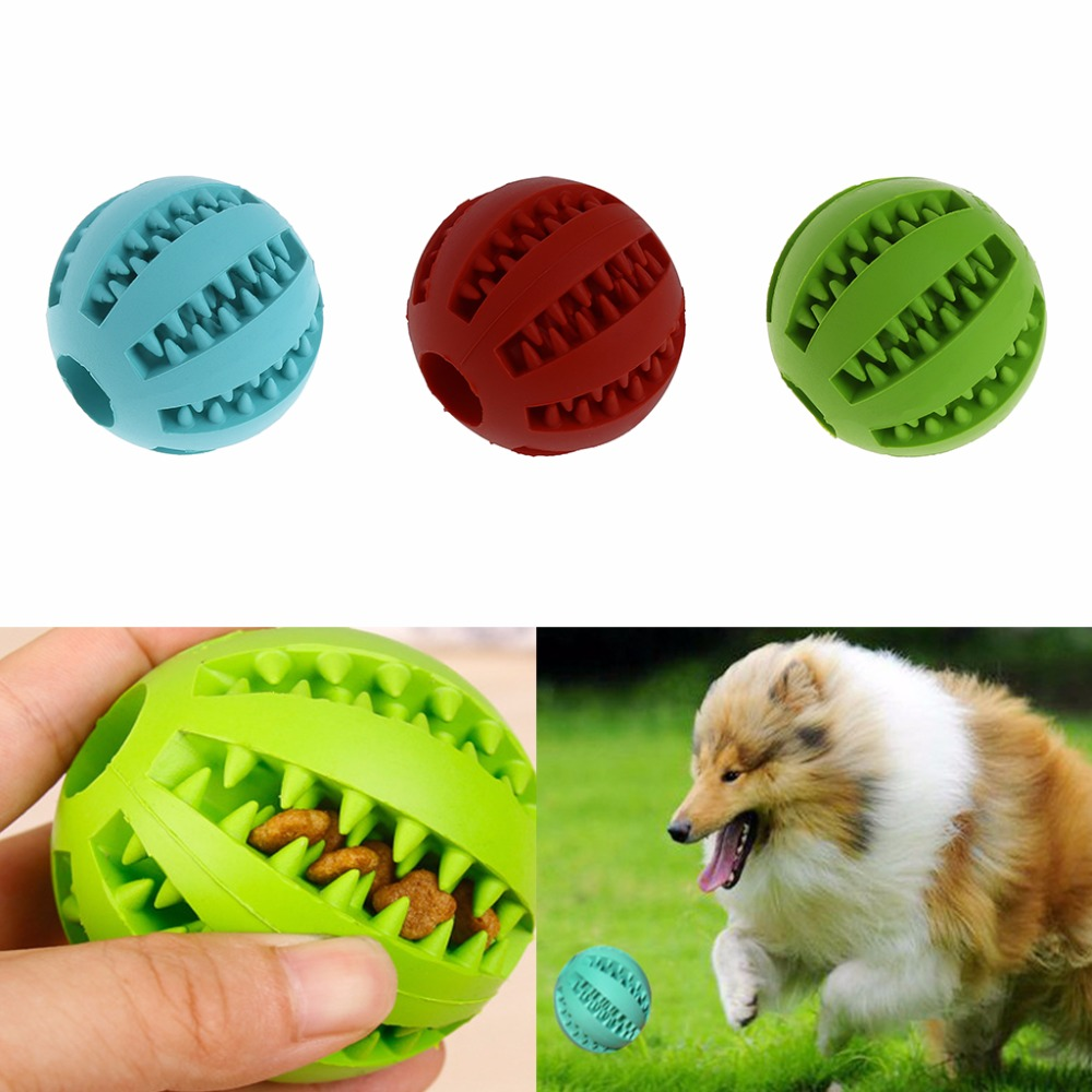 Pet Dog Chew Toy Food Dispenser Ball Bite-Resistant Clean Teeth Natural Rubber image