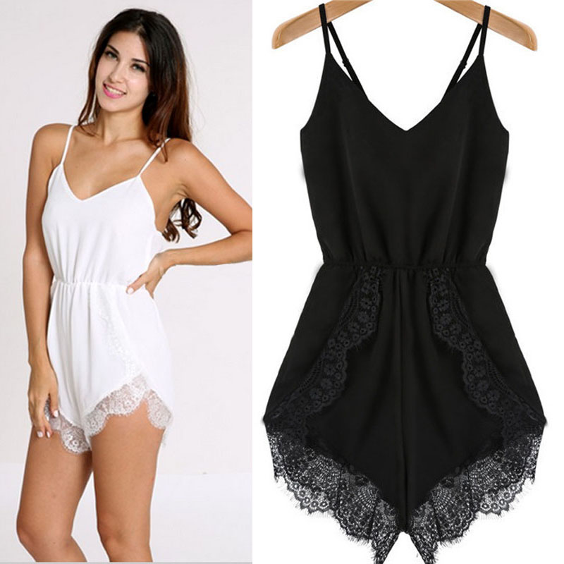 Free Ostrich Black White Sexy&Casual V-Neck Women Strap Sleeveless Lace Chiffon Party   Jumpsuit   Rompers Playsuit Feminino D0635