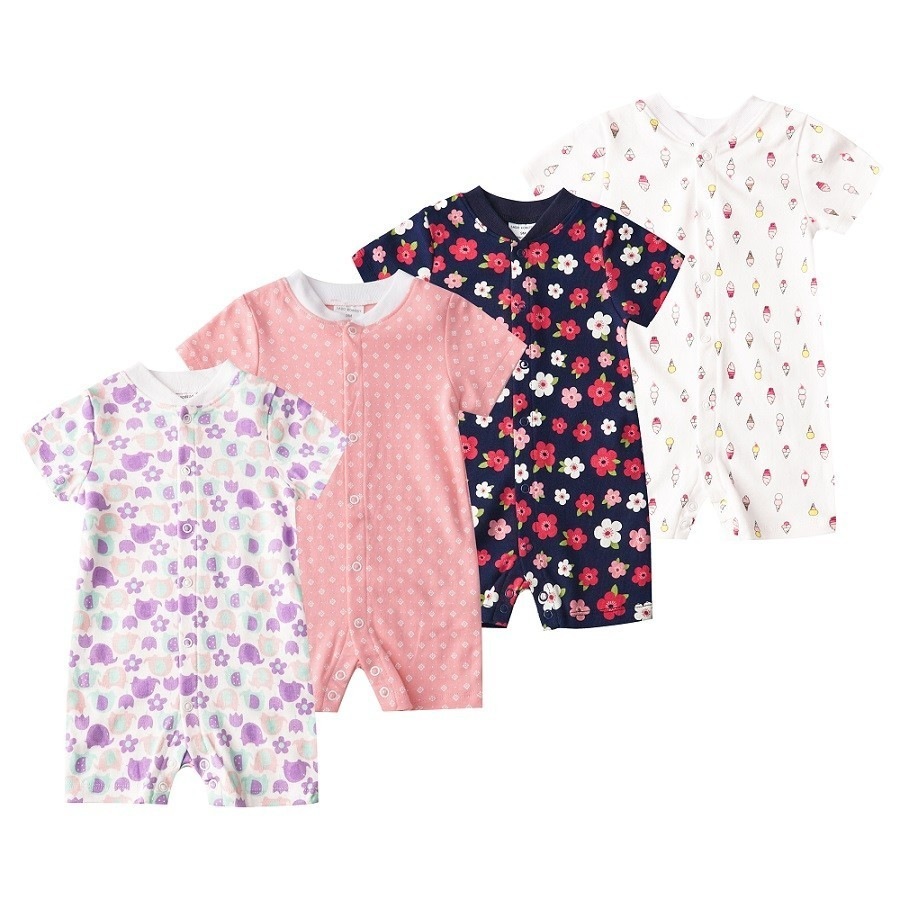 2019 Summer Newborn Baby Jumpsuit Infant Crawling Short Sleeve Cotton   Rompers   Baby Pajamas Flower Clothes For Boy And Girl DP001