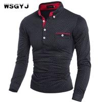 WSGYJ Mens Polo Shirt Brands 2017 Male Long Sleeve Fashion Casual Slim Polka Dot Pocket Button