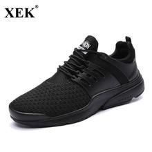 Xek Новинка 2017 года открытый свет Бег обуви Для Мужчин's Спортивная обувь flynitlys Бесплатная Racer эластичные бег мужской черный кроссовки спортивная обувь JH48