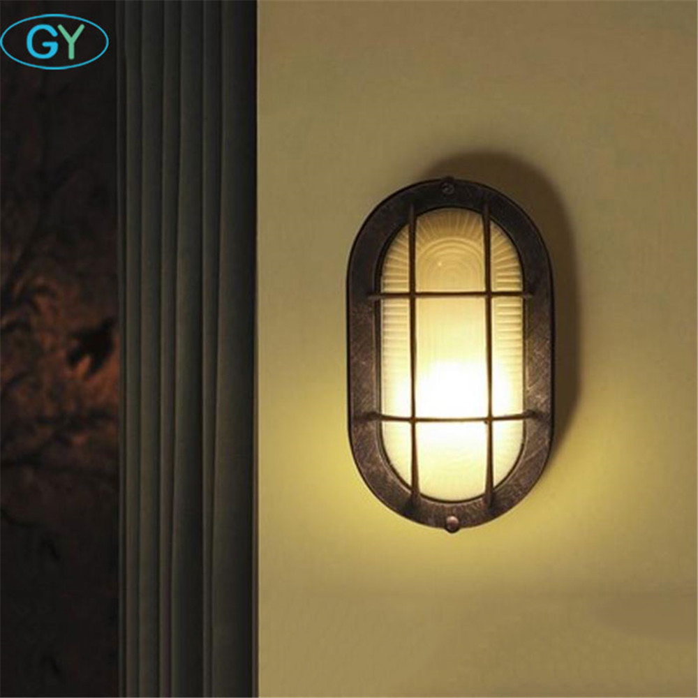 American country entrance hallway wall lights corridor balcony LED wall ceiling lamp retro art glass porch lights ceiling lamp