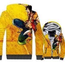 Anime Men Jacket Zipper Mens Clothes 2019 Fashion One Piece Yellow Coat For Winter Warm Male Harajuku Swetshirt