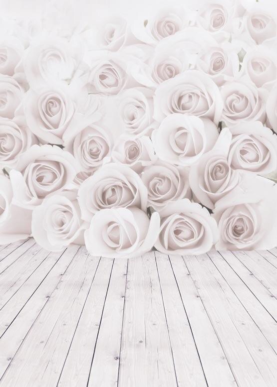 Custom vinyl print white rose flower wood floor