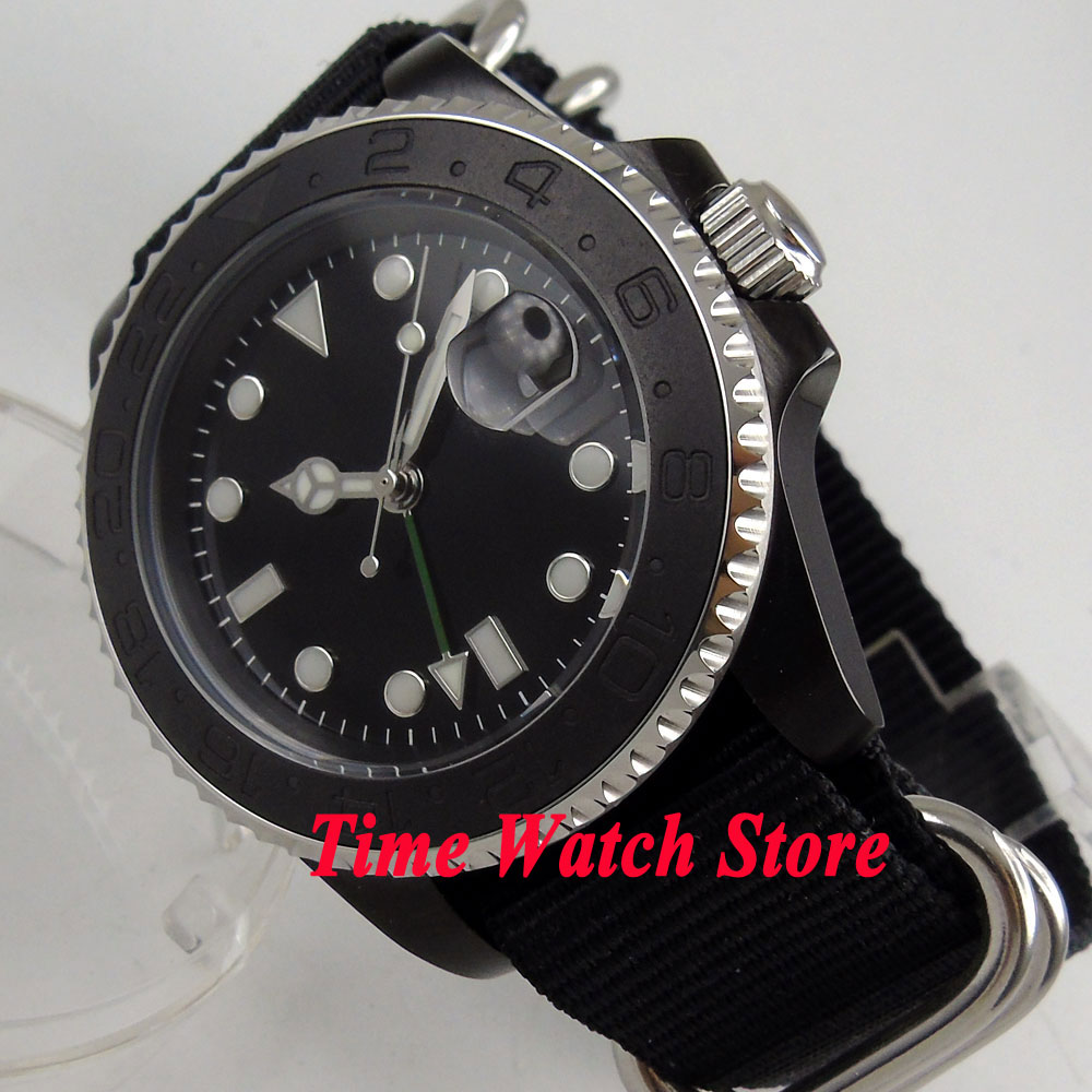 40mm Bliger black sterile dial Luminous sapphire glass Nylon strap GMT Mingzhu Automatic movement Men's watch men 211