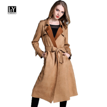 Ly Varey Lin New Spring Women Suede Jacket Coat Casual Turn-down Collar Long Sleeve Cardigan Coat Belt Lady Suede Outerwear