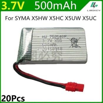 For Syma X5HC X5HW 20pcs/lot 3.7V 500mah Lipo Battery RC Quadcopter Spare Parts 3.7V 500mAh Battery RC Camera Drone Accessories