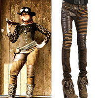Fashion Women S PU Leather Biker Jeans Patchwork Punk Style Zippers On Knee Skinny Slim Fit