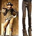 Mujeres de la manera de LA PU de Cuero Biker Jeans Patchwork Estilo Punky Cremalleras En La Rodilla Flaco Slim Fit Pantalones Lápiz