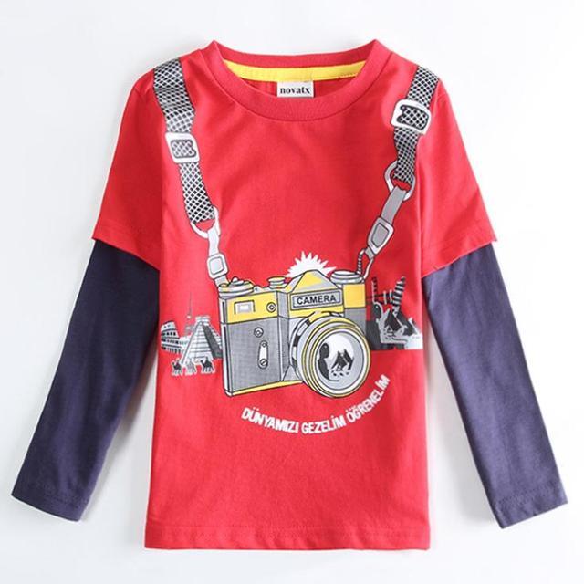 Kid Red Cámara Patrón Camiseta del Muchacho de la manera Niños Ropa de bebé Ropa, Muchachos Niños Camiseta púrpura Traje de niños tops enfant