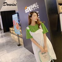 Dowisi summer clothes set sweet style 2 piece set women 2019 femenino outfits avocado green t shirt + white dress women's suit