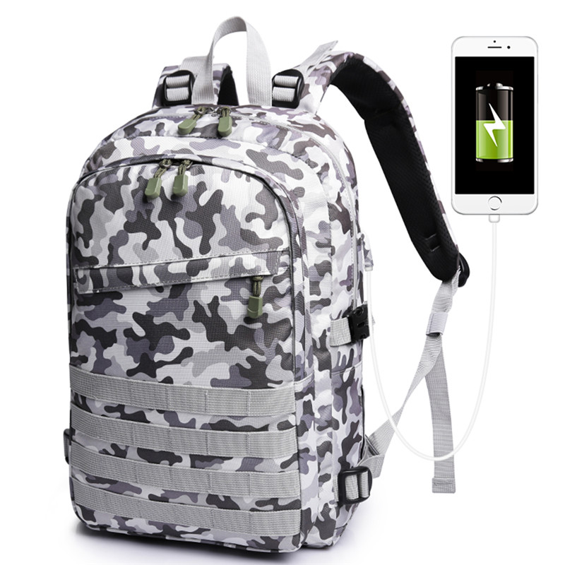 PUBG Backpack Men Game School Bag For Boy Mochila Pubg Battlefield Infantry Pack Camouflage Travel USB Charging Knapsack Cosplay in Backpacks from Luggage Bags