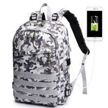 PUBG Backpack Men Game School Bag For Boy Mochila Pubg Battlefield Infantry Pack Camouflage Travel USB Charging Knapsack Cosplay