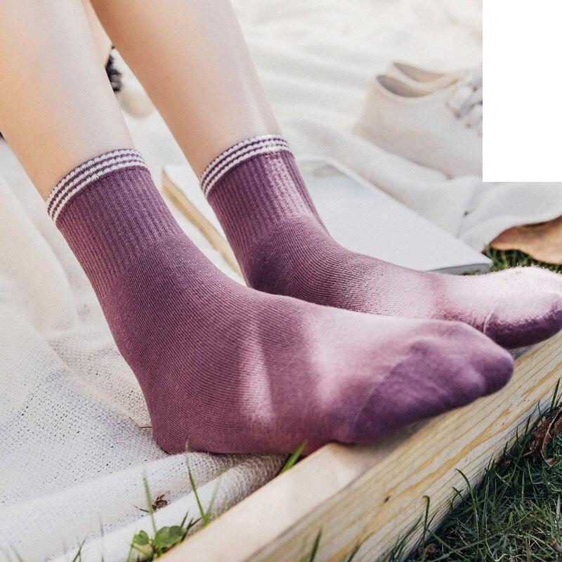 Women Socks 2019 Autumn New Cotton Soft Cute Gril Socks Comfortable Striped Fashion Trend Elastic Brief Korea Style Socks Women