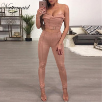 NATTEMAID Suede Women Jumpsuit Sexy strapless 2 pieces Rompers Women Fashion Bodycon Combinaison Femme Solid Lady Club Overalls