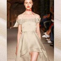 New 20mm 136cm Wide Beige Ultra Fine Jacquard Silk Fabric Fashion Clothing Fabrics For Skirt Shirt