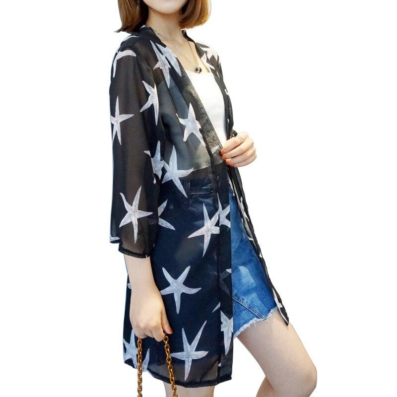HTB1PXjGKkOWBuNjSsppq6xPgpXaA - Blusas Mujer De Moda  New Women Summer Chiffon Blouse Pinted Casual Kimono Cardigan Long Blouses Sunscreen Tops Plus Size