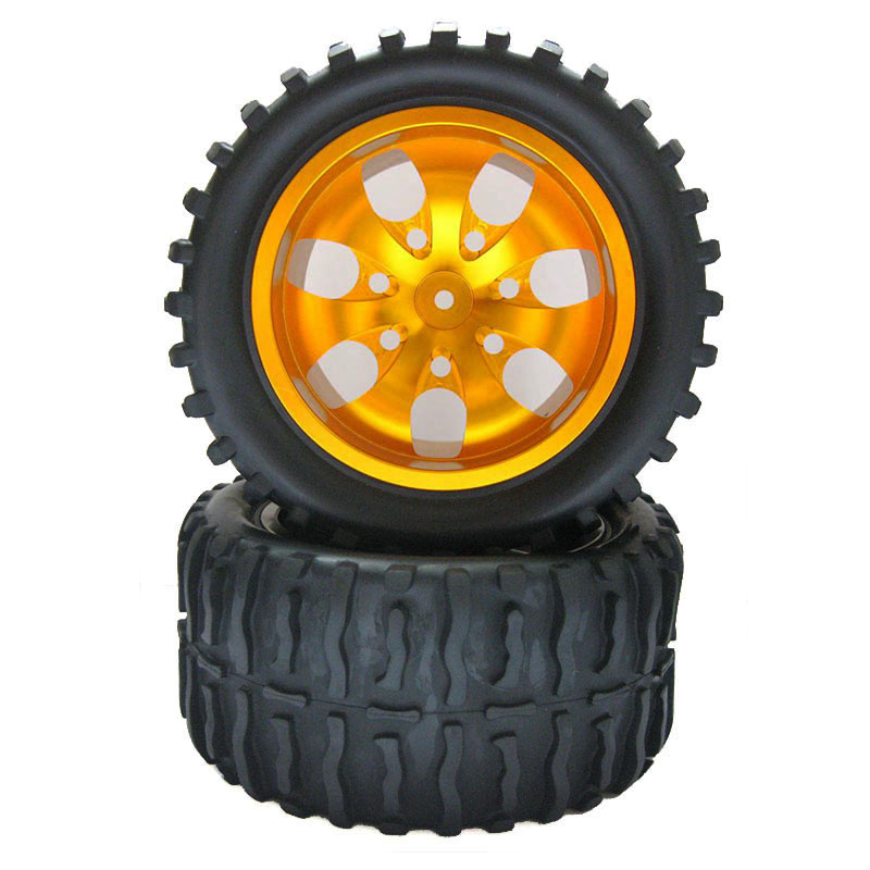 4Pcs 1:10 88016 Big foot tire truck tire For 94108 94111 94188 HPI small F FS Aluminum alloy wheel hub 88151 1 8 big foot tire hsp big tire diameter 150mm rc car 1 8 17mm wheel rims hex hub 4pcs