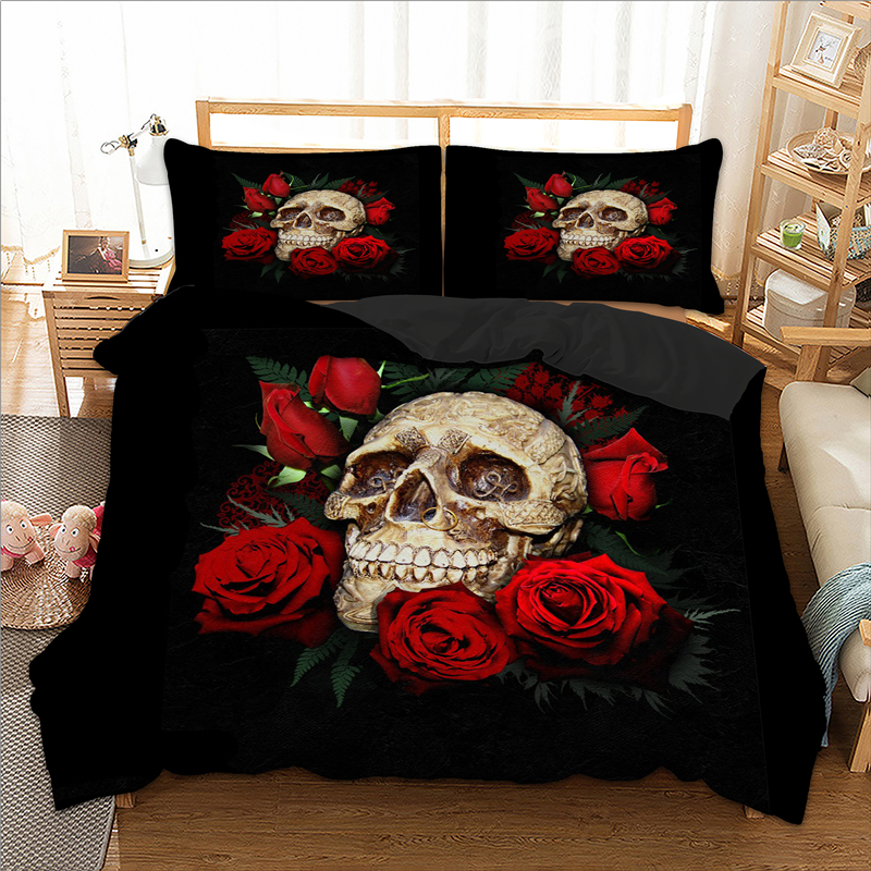 Wongsbedding Rose Skull Duvet Cover Set 3pcs Single Double Queen King Bedclothes Bedding Sets Dropshipping
